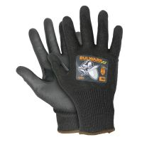 Safety Gloves, Bulwark A5, ANSI Cut Level 5, Black PU Coated Palm and Thumb, Gray